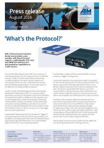 AIM Press Release August 2016 - ANET Mixed Protocol