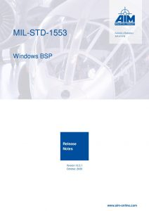 MIL-STD-1553 Windows Release Notes