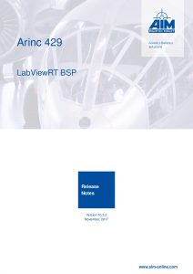 ARINC429 LabViewRT Release Notes