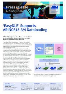 EasyDLE Supports ARINC615-3/4 Dataloading