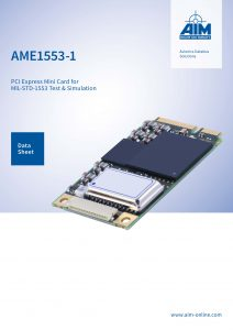 Cover Sheet of AME1553-1 Datasheet, AIM's PCI Express Mini Card for MIL-STD-1553