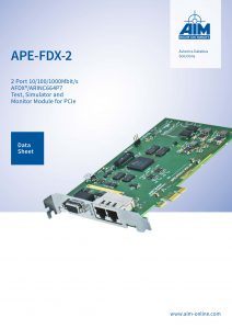 Cover Image of the APE-FDX-2 Datasheet for AFDX/ARINC664P7 Modules