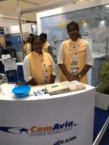 The booth staff at the ComAvia booth - Aero India 2019