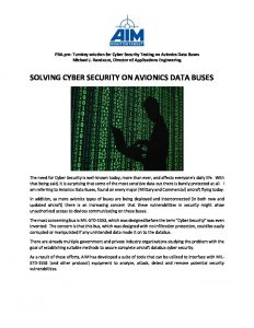 Solving Cyber Security on Avionics Data Buses